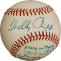 Autographs:Baseballs, Early 1960's Wally Pipp Single Signed Statistics Baseball, PSA/DNA NM-MT 8....