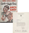Movie/TV Memorabilia:Autographs and Signed Items, Amos 'n' Andy - Freeman Gosden and Charles Correll SignedAgreement (1932).... (Total: 2 Items)