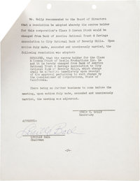 Lucille Ball Signed Special Meeting Minutes (1963)