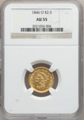 Liberty Quarter Eagles, 1846-O $2 1/2 AU55 NGC. Variety 1....