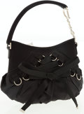 Luxury Accessories:Bags, Christian Dior Black Satin Corset Evening Bag with Silver Hardware....