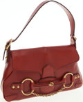 Luxury Accessories:Bags, Gucci Red Leather Horsebit Shoulder Bag with Gold Hardware. ...