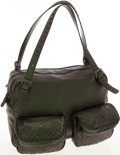 Luxury Accessories:Bags, Bottega Veneta Metallic Green Leather Large Shoulder Satchel Bag....