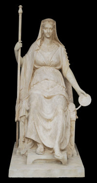 IMPORTANT PLASTER MODEL OF THE EMPRESS MARIE-LOUISE EN CONCORDE BY ANTONIO CANOVA (Italian, 1757-1822) 84 x 56 x 4