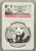 China:People's Republic of China, 2012 S10Y Panda Silver (1oz) Early Release MS69 NGC. PCGS Population (0...
