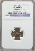 Three Cent Silver: , 1857 3CS -- Stained -- NGC Details. UNC. NGC Census: (3/264). PCGSPopulation (1/200). Mintage: 1,042,000. Numismedia Wsl. ...