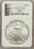 Modern Bullion Coins, 2012 $1 One Ounces Silver Eagle, First Releases MS70 NGC. NGCCensus: (0). PCGS Population (8859)....