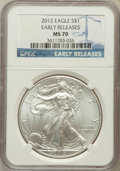 Modern Bullion Coins, 2012 $1 One Ounce Silver Eagle, Early Releases MS70 NGC. NGCCensus: (0). PCGS Population (8859)....