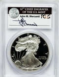 Modern Bullion Coins, 2003-W $1 One Ounce Silver Eagle Insert autographed By John M.Mercanti,12th Chief Engraver of the U.S. Mint, PR70 Deep Cameo...
