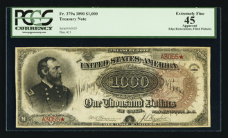 Featured item image of Fr. 379a $1000 1890 Treasury Note PCGS Apparent Extremely Fine 45.  ...