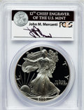Modern Bullion Coins: , 2000-P $1 One Ounce Silver Eagle Insert autographed By John M.Mercanti,12th Chief Engraver of the U.S. Mint, PR70 Deep Cameo...