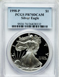 Modern Bullion Coins: , 1998-P $1 One Ounce Silver Eagle PR70 Deep Cameo PCGS. PCGSPopulation (887). NGC Census: (1033). Numismedia Wsl. Price fo...
