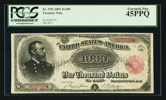 Featured item image of Fr. 379c $1000 1891 Treasury Note PCGS Extremely Fine 45PPQ.  ...
