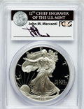 Modern Bullion Coins: , 1999-P $1 One Ounce Silver Eagle Insert autographed By John M.Mercanti,12th Chief Engraver of the U.S. Mint, PR70 Deep C...
