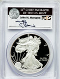Modern Bullion Coins, 2008-W $1 One Ounce Silver Eagle Insert autographed By John M.Mercanti,12th Chief Engraver of the U.S. Mint, PR70 Deep Cameo...