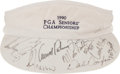 Golf Collectibles:Autographs, 1990 PGA Seniors' Championship Multi Signed Visor - With Palmer,Nicklaus, etc....