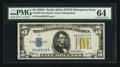 Small Size:World War II Emergency Notes, Fr. 2307 $5 1934A North Africa Silver Certificate. PMG Choice Uncirculated 64.. ...