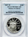 Modern Bullion Coins, 2007-W $100 One-Ounce Platinum Eagle PR70 Deep Cameo PCGS. PCGSPopulation (180). NGC Census: (469). Numismedia Wsl. Price...
