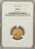 Indian Quarter Eagles: , 1913 $2 1/2 MS62 NGC. NGC Census: (3716/2724). PCGS Population(1639/1987). Mintage: 722,000. Numismedia Wsl. Price for pro...
