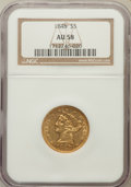 Liberty Half Eagles: , 1848 $5 AU58 NGC. NGC Census: (89/36). PCGS Population (21/21).Mintage: 260,775. Numismedia Wsl. Price for problem free NG...