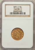 Liberty Half Eagles: , 1895-S $5 AU58 NGC. NGC Census: (97/24). PCGS Population (20/15).Mintage: 112,000. Numismedia Wsl. Price for problem free ...