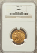 Indian Half Eagles: , 1909 $5 MS64 NGC. NGC Census: (398/73). PCGS Population (388/96).Mintage: 627,138. Numismedia Wsl. Price for problem free ...