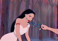 Animation Art:Production Cel, Pocahontas Presentation Cel on Production Background (WaltDisney, 1995)....