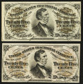 Fractional Currency:Third Issue, Two 25¢ Third Issue Notes Choice New.. ... (Total: 2 notes)
