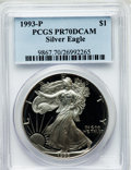 Modern Bullion Coins, 1993-P $1 One Ounce Silver Eagle PR70 Deep Cameo PCGS. PCGSPopulation (173). NGC Census: (300). Mintage: 403,625. Numismed...