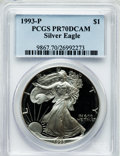 Modern Bullion Coins: , 1993-P $1 One Ounce Silver Eagle PR70 Deep Cameo PCGS. PCGSPopulation (173). NGC Census: (300). Mintage: 403,625. Numismed...