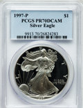 Modern Bullion Coins: , 1997-P $1 One Ounce Silver Eagle PR70 Deep Cameo PCGS. PCGSPopulation (562). NGC Census: (9306). Numismedia Wsl. Price fo...
