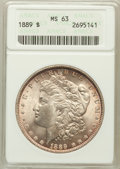 Morgan Dollars: , 1889 $1 MS63 ANACS. NGC Census: (14844/16180). PCGS Population(13479/11294). Mintage: 21,726,812. Numismedia Wsl. Price fo...