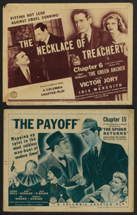 """The Green Archer Lot (Columbia, 1940-41). Title Lobby Cards (2) (11"""" X 14""""). Serials. ... (Total: 2 Items)"""