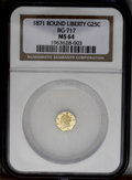 California Fractional Gold: , 1871 25C Liberty Octagonal 25 Cents, BG-717, R.3, MS64 NGC. PCGSPopulation (62/66). (#10544)...