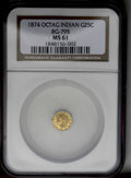California Fractional Gold: , 1874 25C Indian Octagonal 25 Cents, BG-795, R.3, MS61 NGC. PCGSPopulation (4/145). (#10622)...