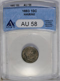 Coins of Hawaii: , 1883 10C Hawaii Ten Cents AU58 ANACS. NGC Census: (24/87). PCGSPopulation (22/106). Mintage: 250,000. (#10979)...