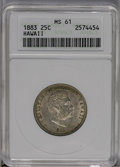 Coins of Hawaii: , 1883 25C Hawaii Quarter MS61 ANACS. NGC Census: (19/439). PCGSPopulation (43/774). Mintage: 500,000. (#10987)...