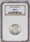 Coins of Hawaii: , 1883 25C Hawaii Quarter MS64 NGC. NGC Census: (135/148). PCGSPopulation (240/178). Mintage: 500,000. (#10987)...