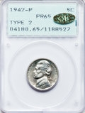 Proof Jefferson Nickels: , 1942-P 5C Type Two PR65 PCGS. Gold PCGS Population (1808/1739). NGCCensus: (713/1393). Mintage: 27,600. Numismedia Wsl. Pr...