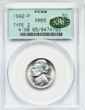 Proof Jefferson Nickels: , 1942-P 5C Type Two PR65 PCGS. Gold CAC. PCGS Population(1808/1739). NGC Census: (713/1393). Mintage: 27,600. NumismediaWs...