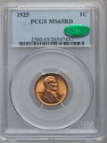 Lincoln Cents: , 1925 1C MS65 Red PCGS. CAC. PCGS Population (508/402). NGC Census:(183/126). Mintage: 139,948,992. Numismedia Wsl. Price f...