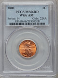 Lincoln Cents, 2000 1C Wide AM MS66 Red PCGS. PCGS Population (407/347). NGCCensus: (0/0)....