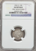 Barber Dimes: , 1902-O 10C -- Obv Scratched -- NGC Details. AU. NGC Census: (1/91).PCGS Population (8/77). Mintage: 4,500,000. Numismedia ...
