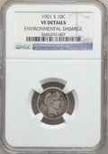 Barber Dimes: , 1901-S 10C -- Environmental Damage -- NGC Details. VF. NGC Census:(2/75). PCGS Population (6/114). Mintage: 593,022. Numis...