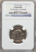 Standing Liberty Quarters: , 1919-S 25C -- Cleaned, Damaged -- NGC Details. VF. NGC Census:(16/324). PCGS Population (14/529). Mintage: 1,836,000. Numi...