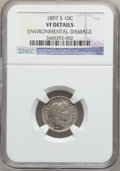 Barber Dimes: , 1897-S 10C -- Environmental Damage -- NGC Details. VF. NGC Census:(1/71). PCGS Population (3/144). Mintage: 1,342,844. Num...