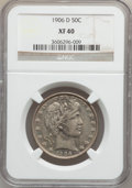 Barber Half Dollars: , 1906-D 50C XF40 NGC. NGC Census: (8/166). PCGS Population (23/317).Mintage: 4,028,000. Numismedia Wsl. Price for problem f...
