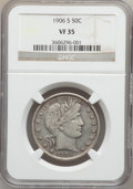 Barber Half Dollars: , 1906-S 50C VF35 NGC. NGC Census: (2/88). PCGS Population (8/152).Mintage: 1,740,154. Numismedia Wsl. Price for problem fre...