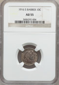 Barber Dimes: , 1916-S 10C AU55 NGC. NGC Census: (6/268). PCGS Population (31/328).Mintage: 5,820,000. Numismedia Wsl. Price for problem f...