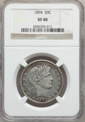 Barber Half Dollars: , 1894 50C XF40 NGC. NGC Census: (5/146). PCGS Population (10/171).Mintage: 1,148,972. Numismedia Wsl. Price for problem fre...